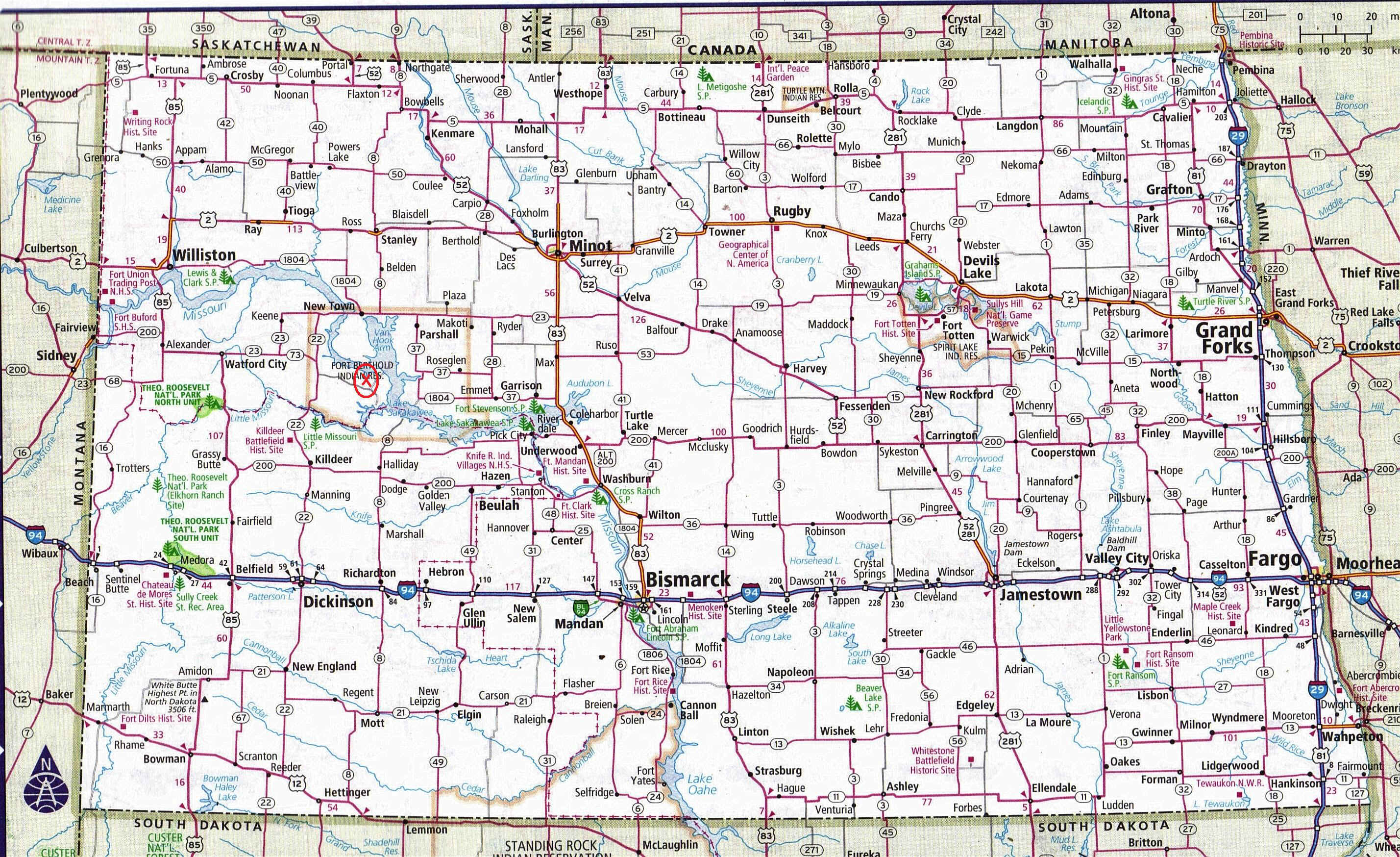 North Dakota Map - North dakota city map
